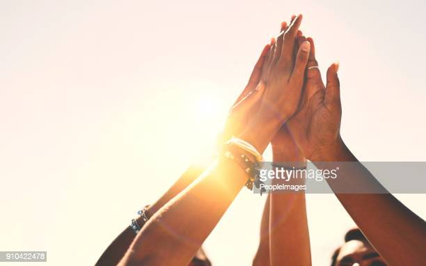 friends stick together! - achievement stock pictures, royalty-free photos & images