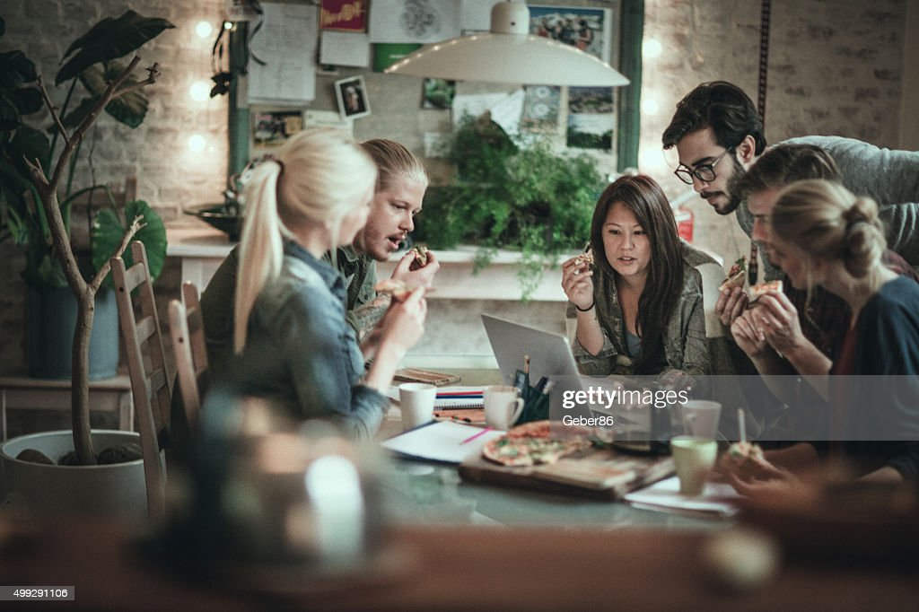 Friends studying together : Stock Photo