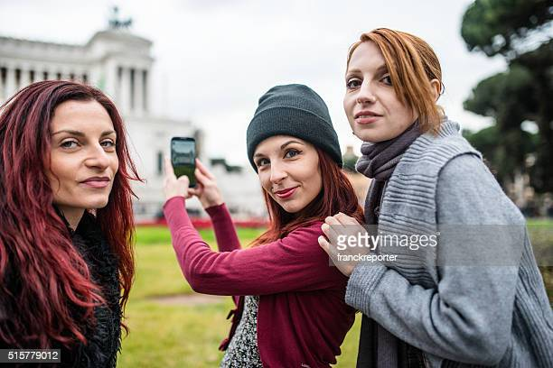 friends take a picture of Rome - Italy