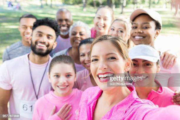 Friends take selfie during charity event