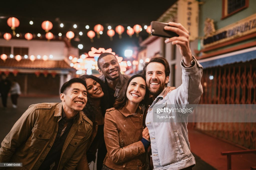 Friends Take Selfie in Chinatown Downtown Los Angeles At Night : Stock Photo