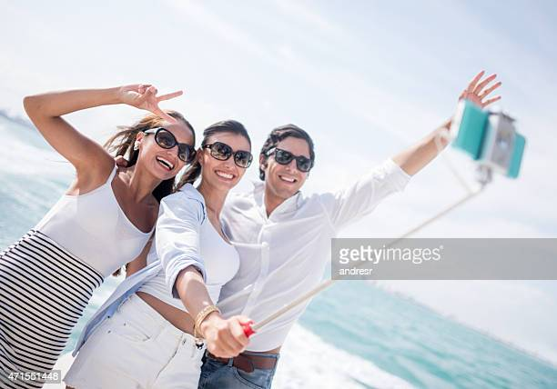 Friends taking a selfie on their holidays