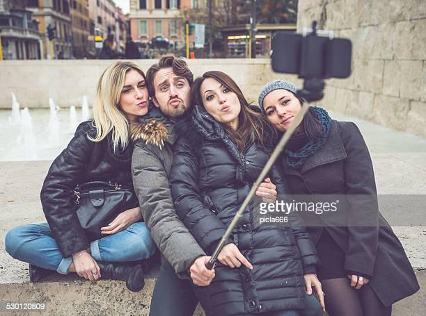 Friends taking a selfie stick in Rome