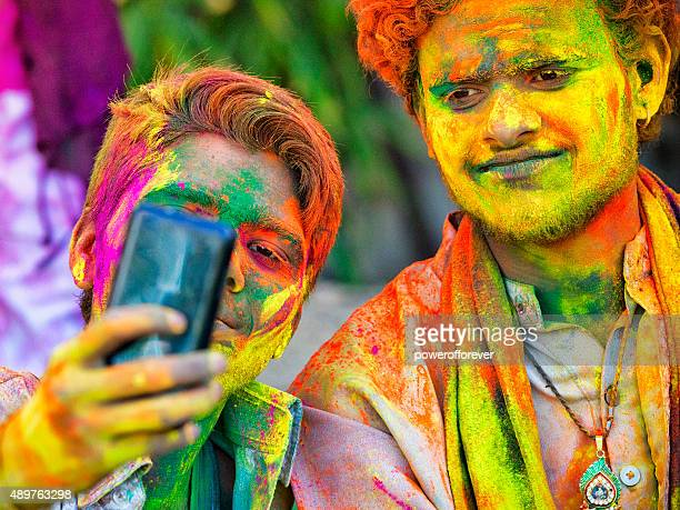 Friends Taking Selfie at Holi Festival in India