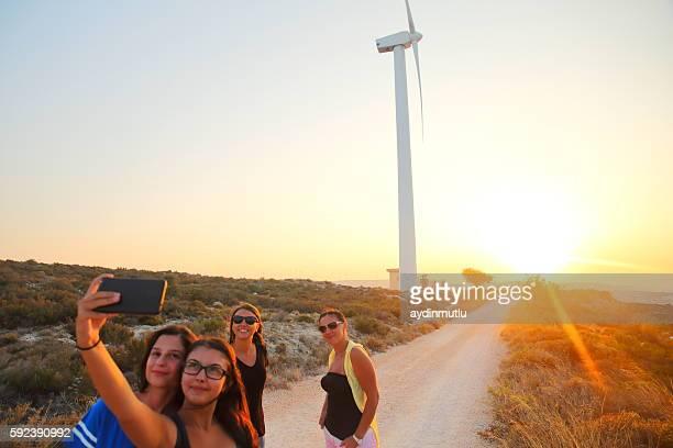 Friends taking selfie in the Wind Power