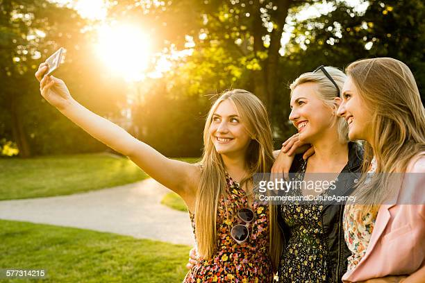 Friends taking selfie together