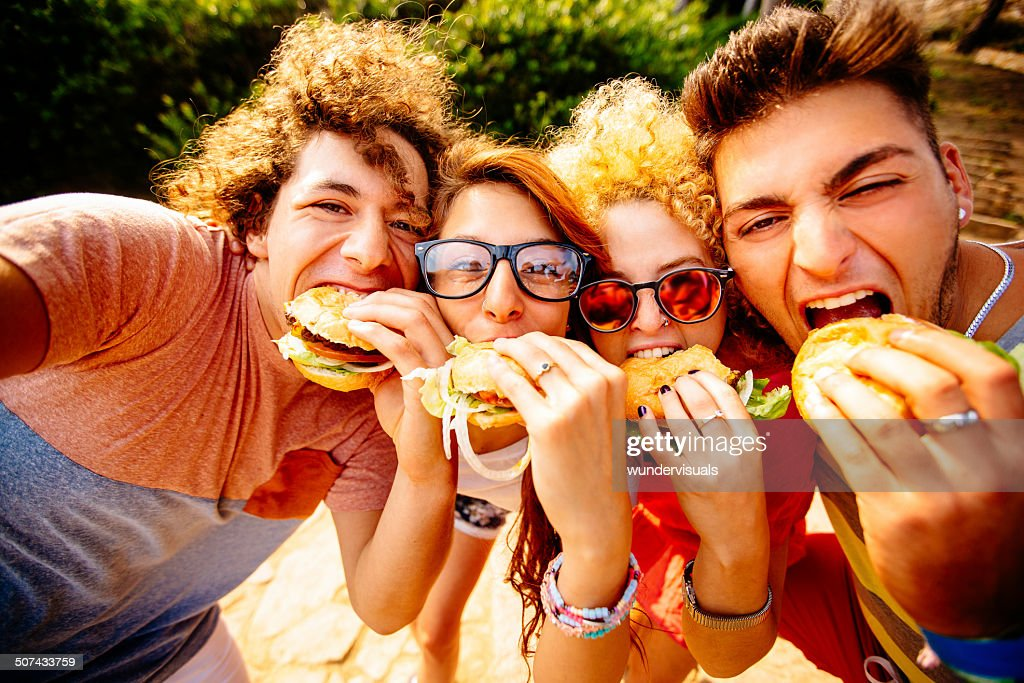 Friends Taking Selfie With Hamburgers : Stock Photo
