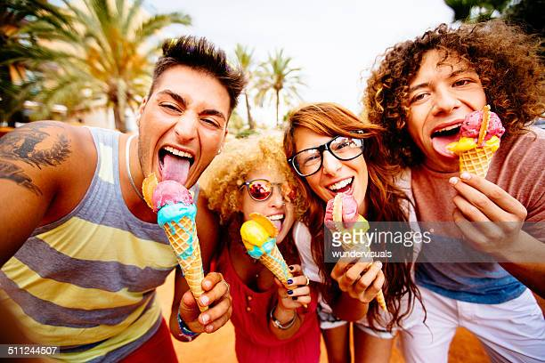 Friends Taking Selfie With Ice Cream