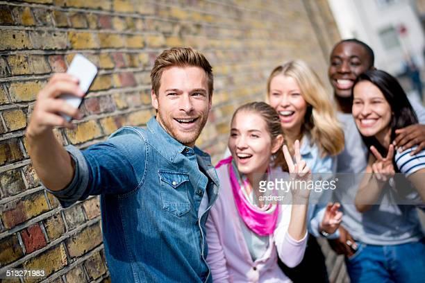 Friends talking a selfie