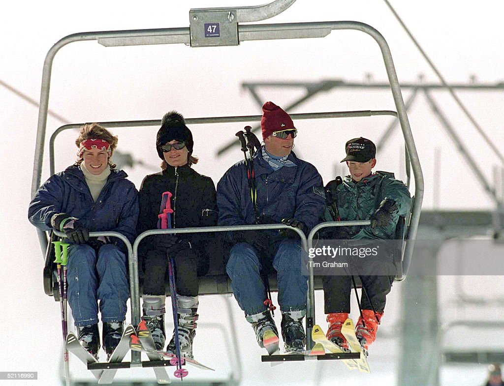 Friends Tara And Santa Palmer-tomkinson Join Prince Charles And Prince Harry Sitting On A Ski Life In Klosters, Switzerland For Their Skiing Holiday On New Years Day 1st January.