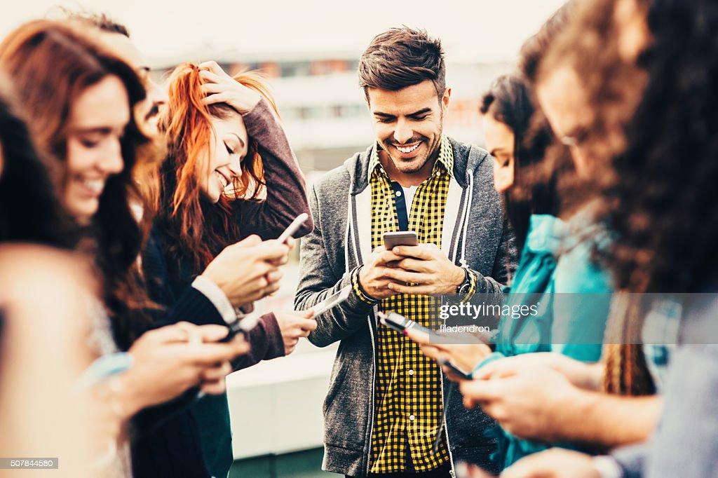 Freunde SMS : Stock-Foto