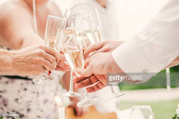Friends toasting at a summer party
