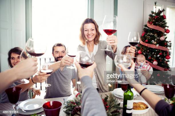 Friends toasting at Christmas dinner