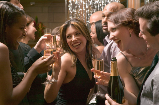 Friends toasting champagne at party - gettyimageskorea