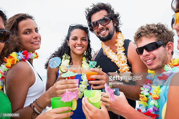 Friends toasting during beach party