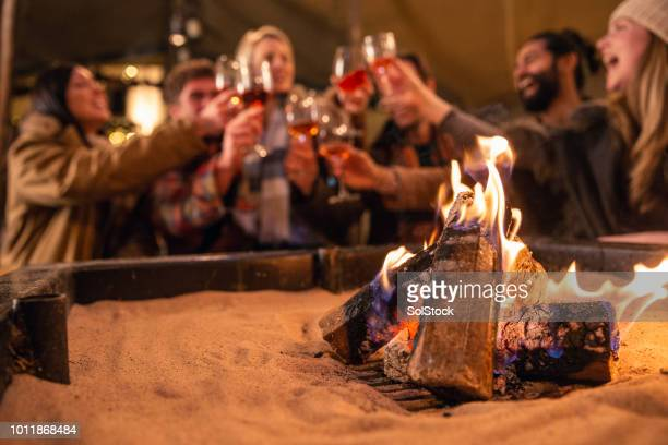 friends toasting next to a fire pit - fire pit stock pictures, royalty-free photos & images