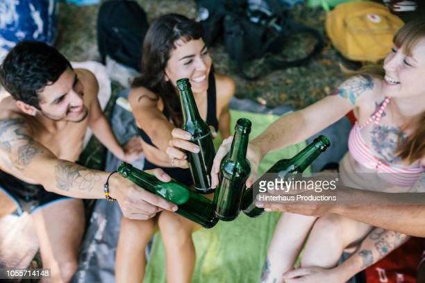 friends toasting one another at lake - wildnisgebiets name stock pictures, royalty-free photos & images