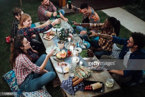 amis de grillage avec vin et bière à dîner rustique - invité photos et images de collection