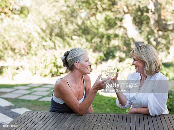 friends toasting with wine outdoors - female friendship stock pictures, royalty-free photos & images