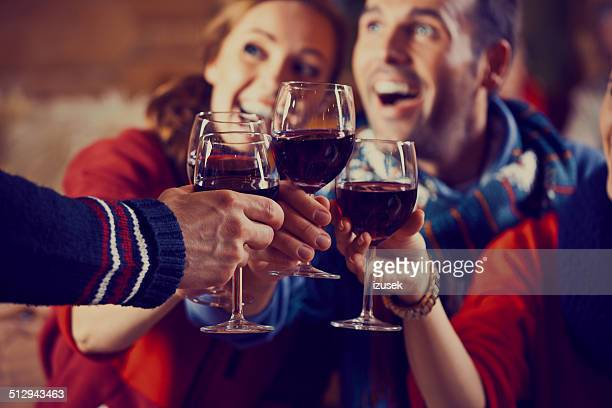 friends toasting with wine - apres ski stock pictures, royalty-free photos & images