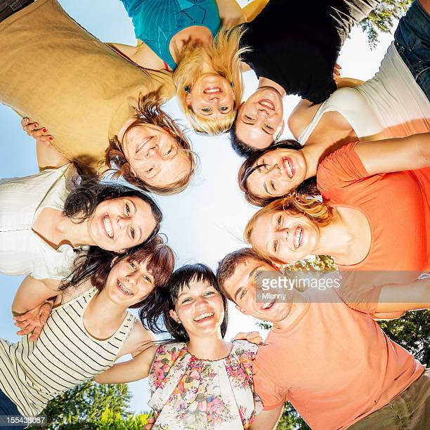 friends together team circle - mlenny stock pictures, royalty-free photos & images