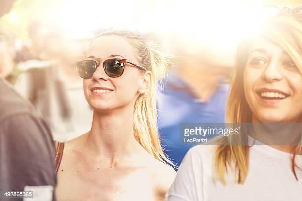 Friends together visit a street market