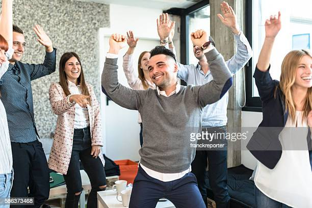 friends togetherness have a party in the office - work party stock pictures, royalty-free photos & images