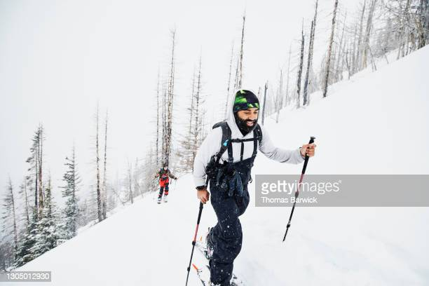 friends touring on splitboards on snowy winter morning - frozen stock pictures, royalty-free photos & images