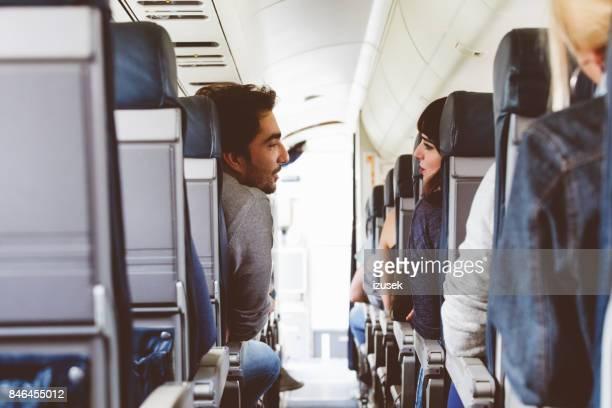 Friends traveling by flight