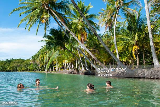 friends vacationing in bocas del toro, panama - panama stock pictures, royalty-free photos & images