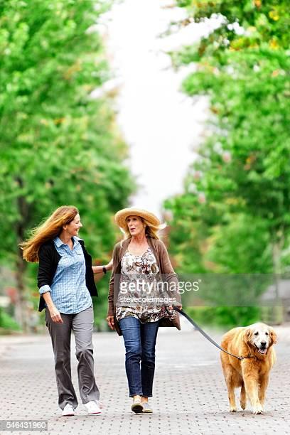 Friends Walking Dog