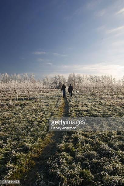 Friends walking on path