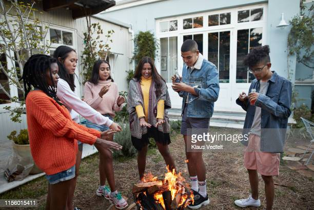 friends warming hands over bonfire - medium group of people stock pictures, royalty-free photos & images