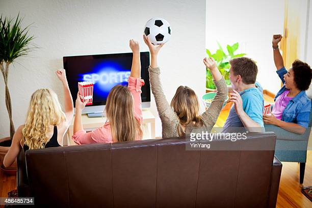 Friends Watching Sports Soccer on Television Together