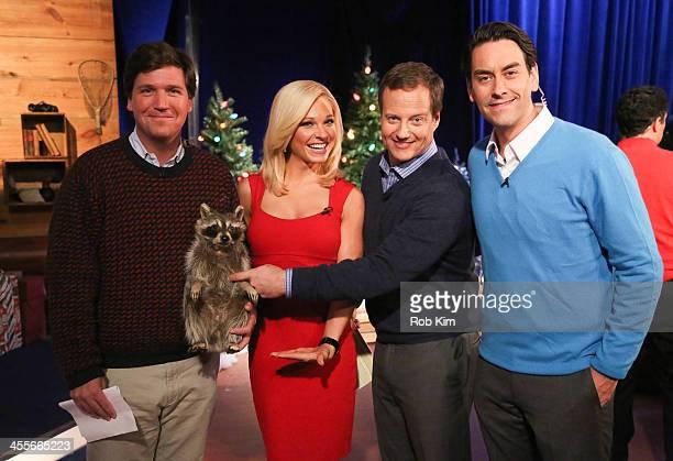 FOX Friends Weekend cohosts Tucker Carlson Anna Kooiman FOX News meteorologist Rick Reichmuth and Clayton Morris attend 'FOX Friends Christmas...