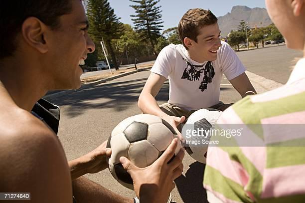Amis avec ballons