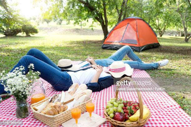 friends with hats lying on picnic blanket in park - hamper stock pictures, royalty-free photos & images