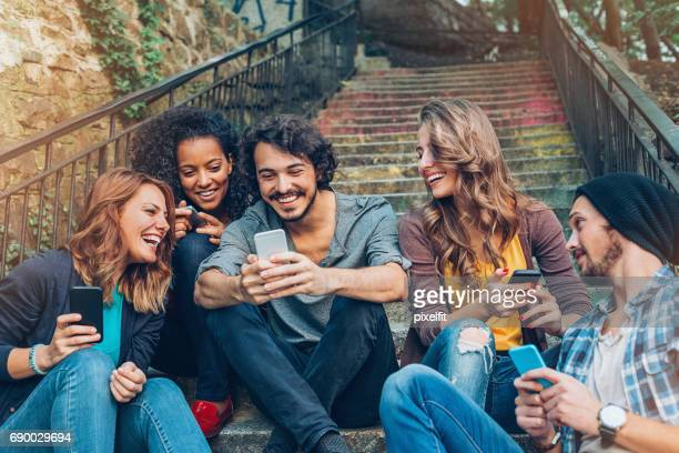 friendship and networking - five people stock pictures, royalty-free photos & images