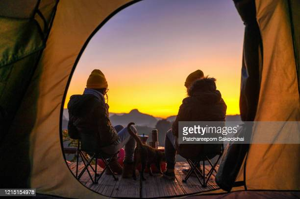 friendship camping outdoor - evening meal ストックフォトと画像