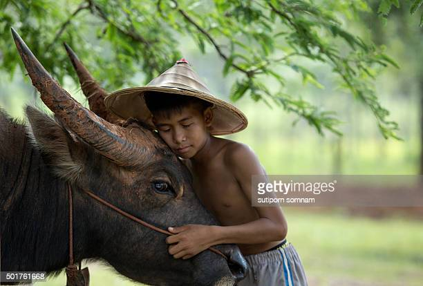 Friendship Love boy with buffalo