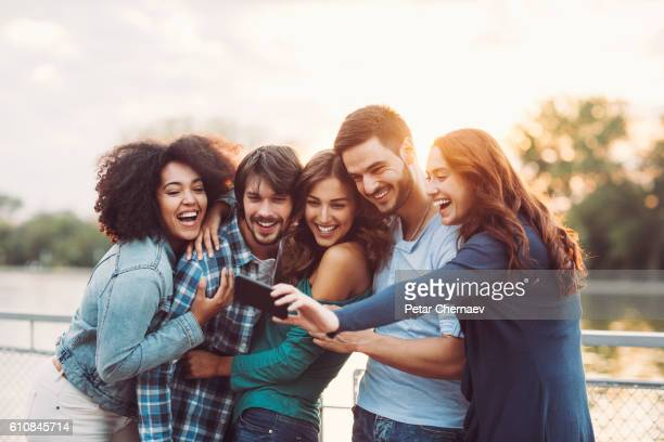 friendship selfie - five people stock pictures, royalty-free photos & images