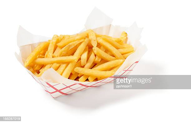Fries in a cardboard tray on a white background