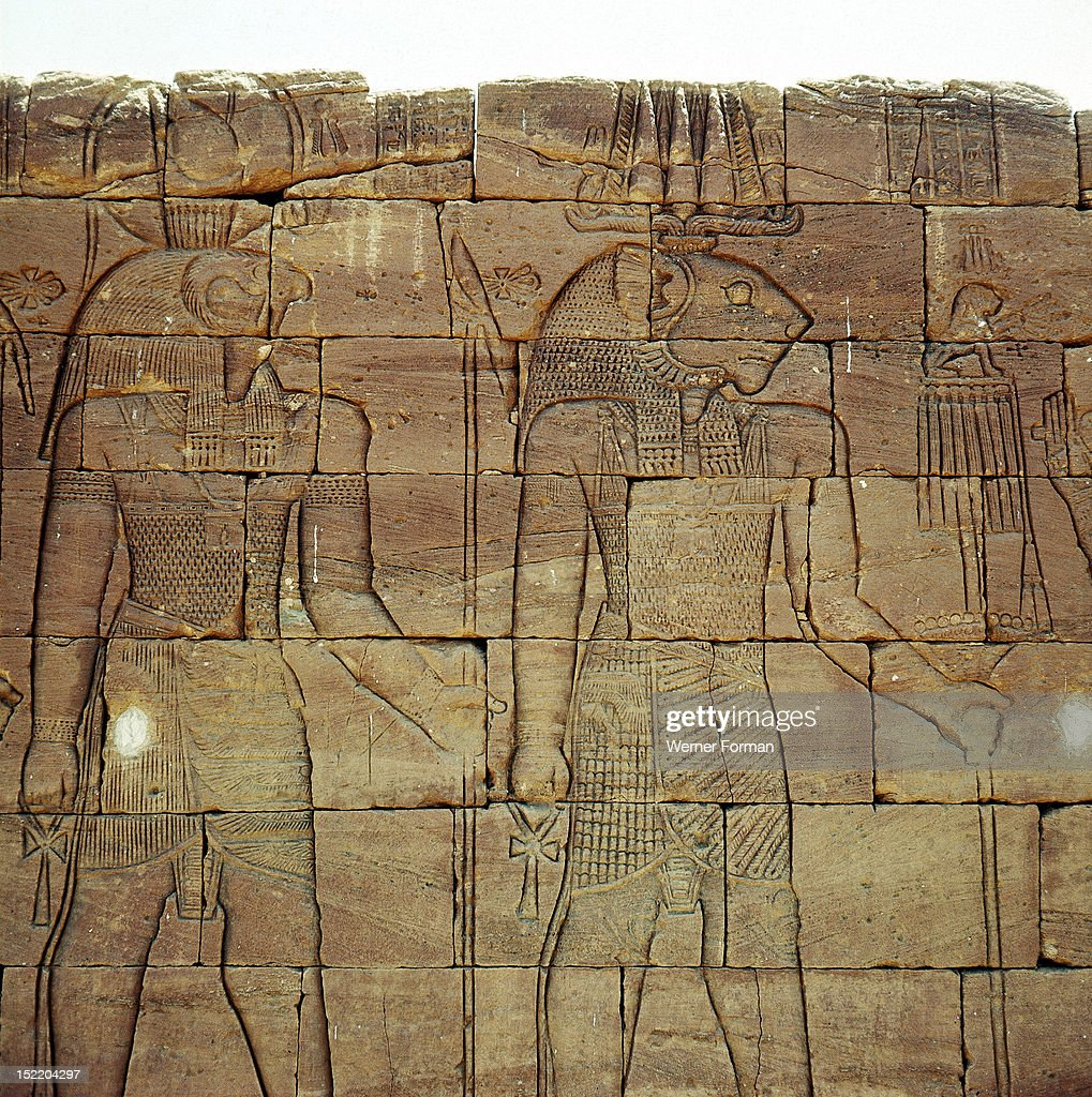 Frieze at the Meroitic temple complex at Naga,The local Meroitic lion god Apedemak stands beside the Egyptian god Horus. Sudan. Nubian. c 300 BC 100 BC. Naga, Meroe.