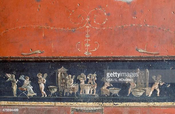 Frieze depicting cupids House of the Vettii Pompeii Campania Italy Roman civilisation 1st century