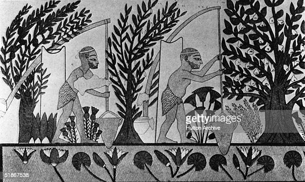 Frieze depicting Egyptians using the water from the Nile for irrigation, circa 2000 BC.