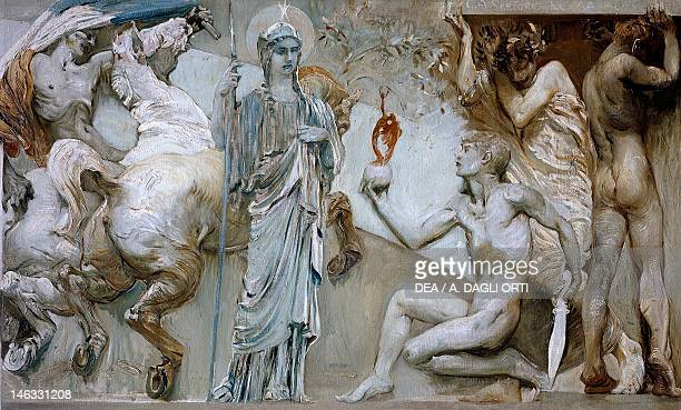 Frieze of Lazio a miracle of science and daring by Giulio Aristide Sartorio oil on canvas 98x435 cm Detail