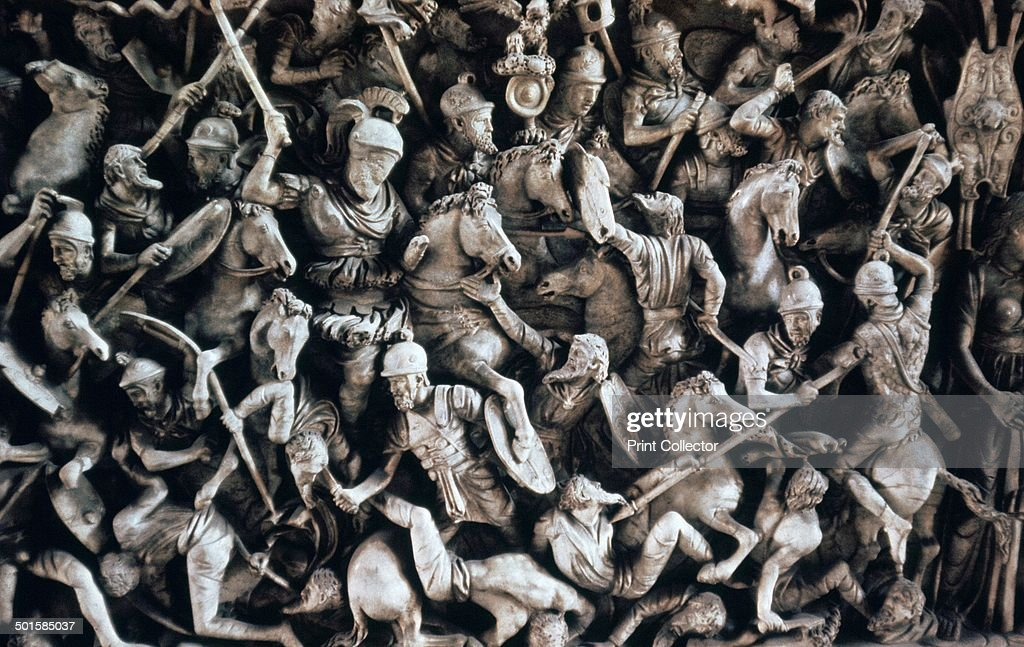 Frieze of Roman soldiers fighting Germanic tribesmen on a