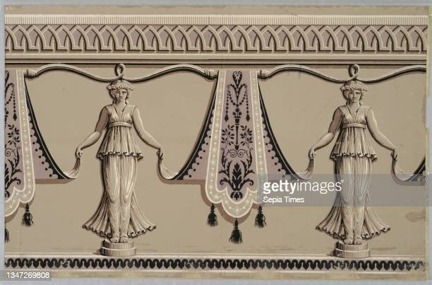Frieze, Pierre Jacquemart, Block-printed on handmade paper, Two repeats of design of caryatids on round pedestals holding up the lower ends of...