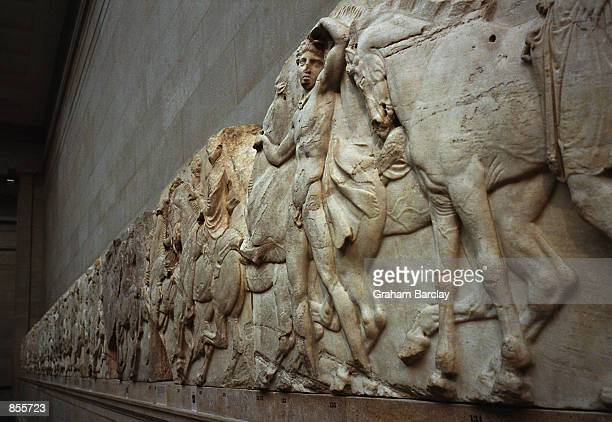 """Frieze which forms part of the """"Elgin Marbles"""", taken from the Parthenon in Athens, Greece almost two hundred years ago by the British aristocrat,..."""
