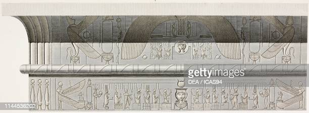 Friezes of the cornice, side walls of Hathor Temple portico, Dendera Temple complex, Egypt, engraving by Phelippeaux after a drawing by Jollois and...
